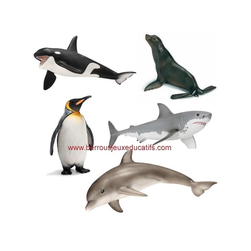 Lot de 5 animaux marins