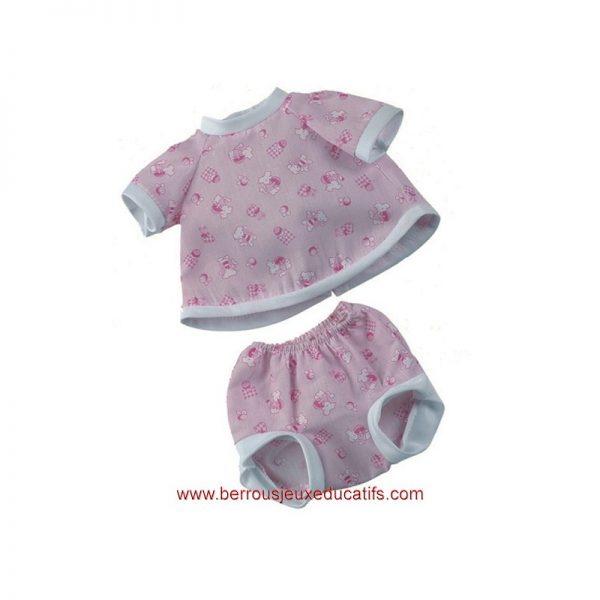Vêtements poupée 34cm short+maillot rose