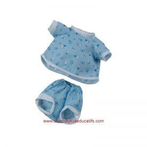 Vêtements poupée 34cm short+maillot bleu