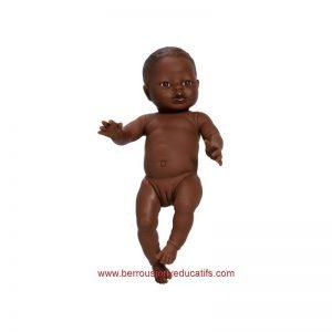 Poupée corps dur sans cheveux 34cm fille africaine