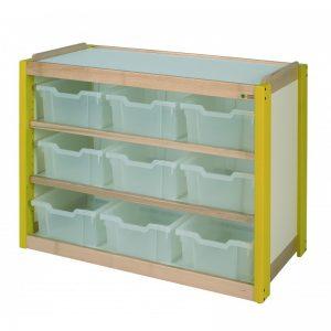 Meuble 2 étagères + 9 casiers translucides